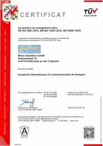 Moser Spedition Zertifikat FR