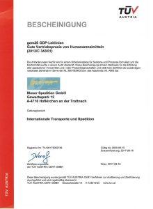 Moser Spedition Zertifikat DE