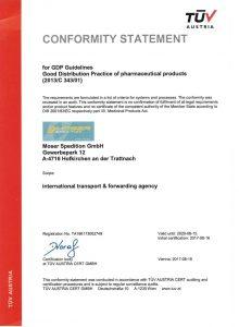 Moser Spedition Zertifikat EN